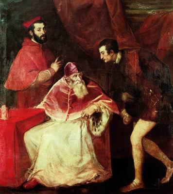 Павел III с двумя внуками – Оттавио Фарнезе и кардиналом Алессандро