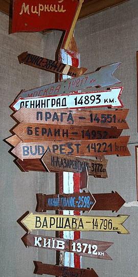 Столб, с развешенными указателями