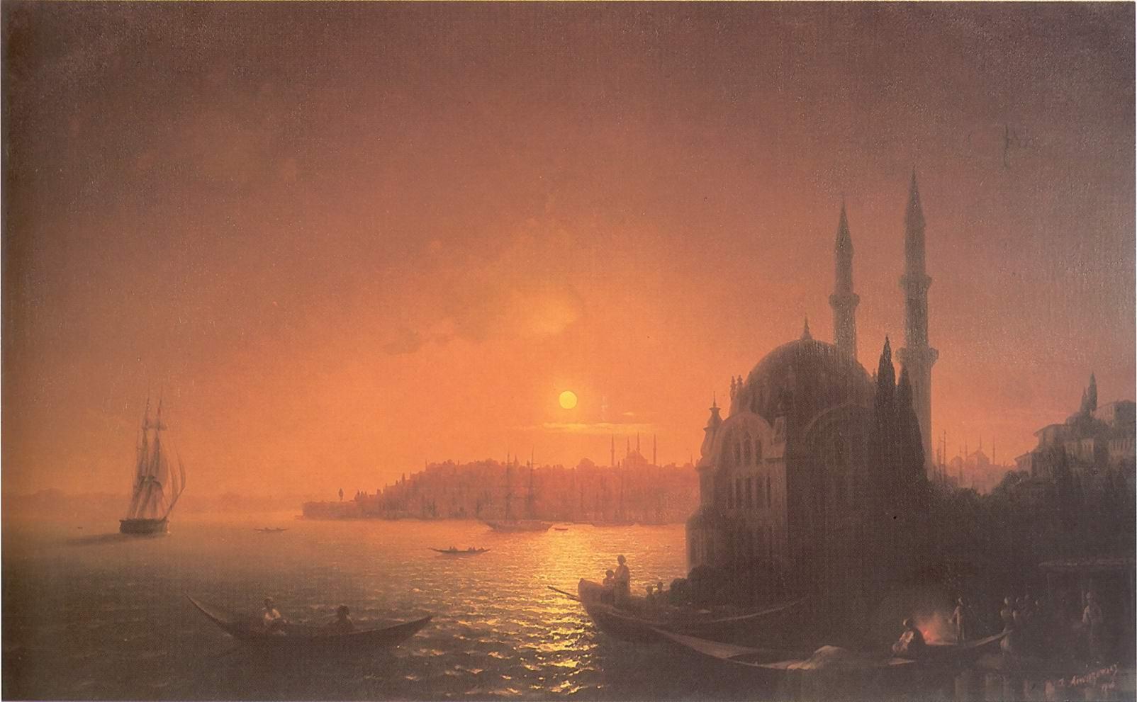 Вид Константинополя при лунном освещении, Айвазовский Иван Константинович