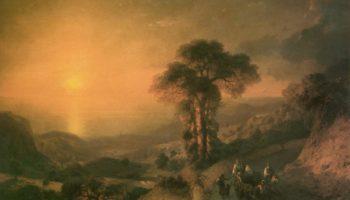 Вид моря с гор при закате солнца