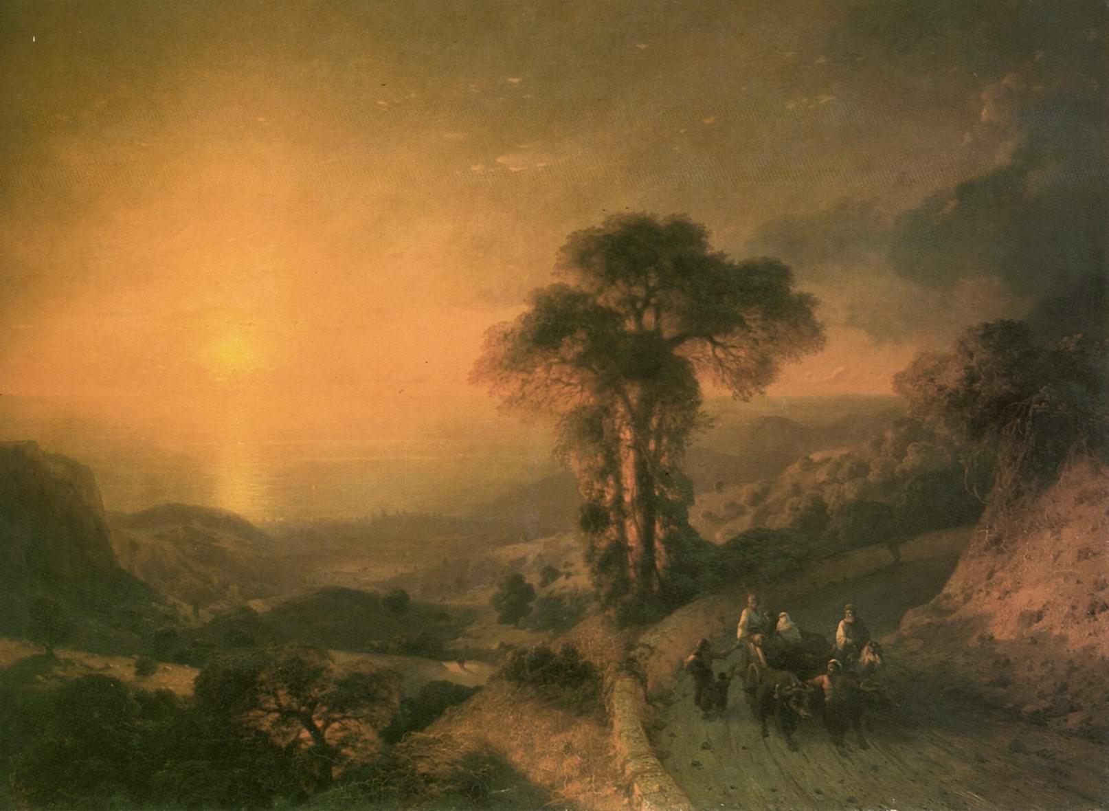 Вид моря с гор при закате солнца, Айвазовский Иван Константинович