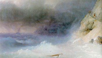 Буря у скалистых берегов