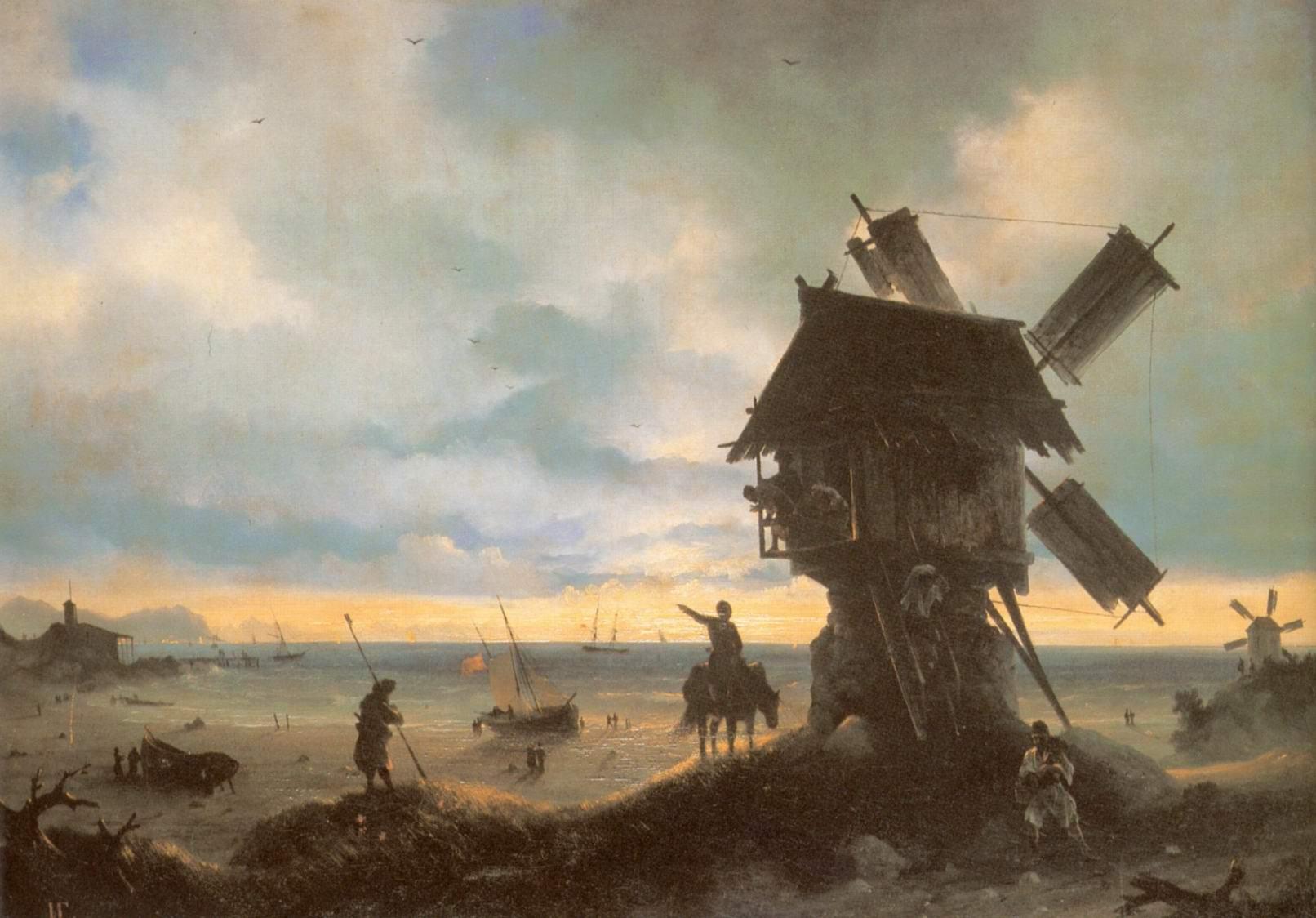 Ветряная мельница на берегу моря, Айвазовский Иван Константинович