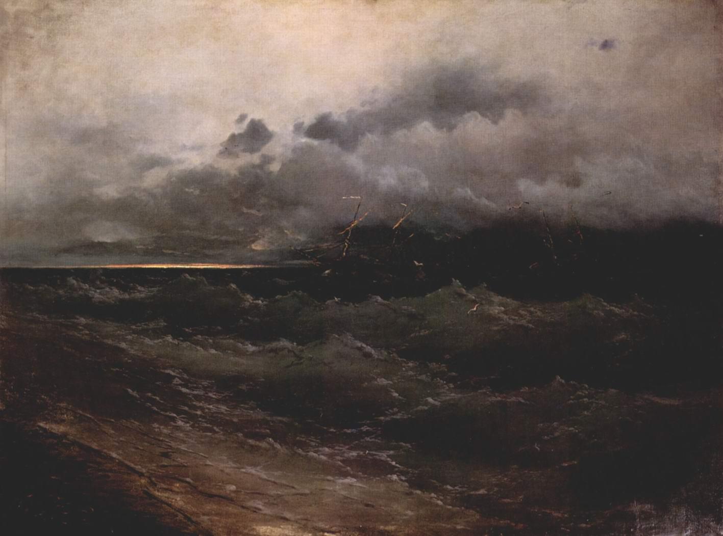 Корабли в бурном море. Восход солнца, Айвазовский Иван Константинович