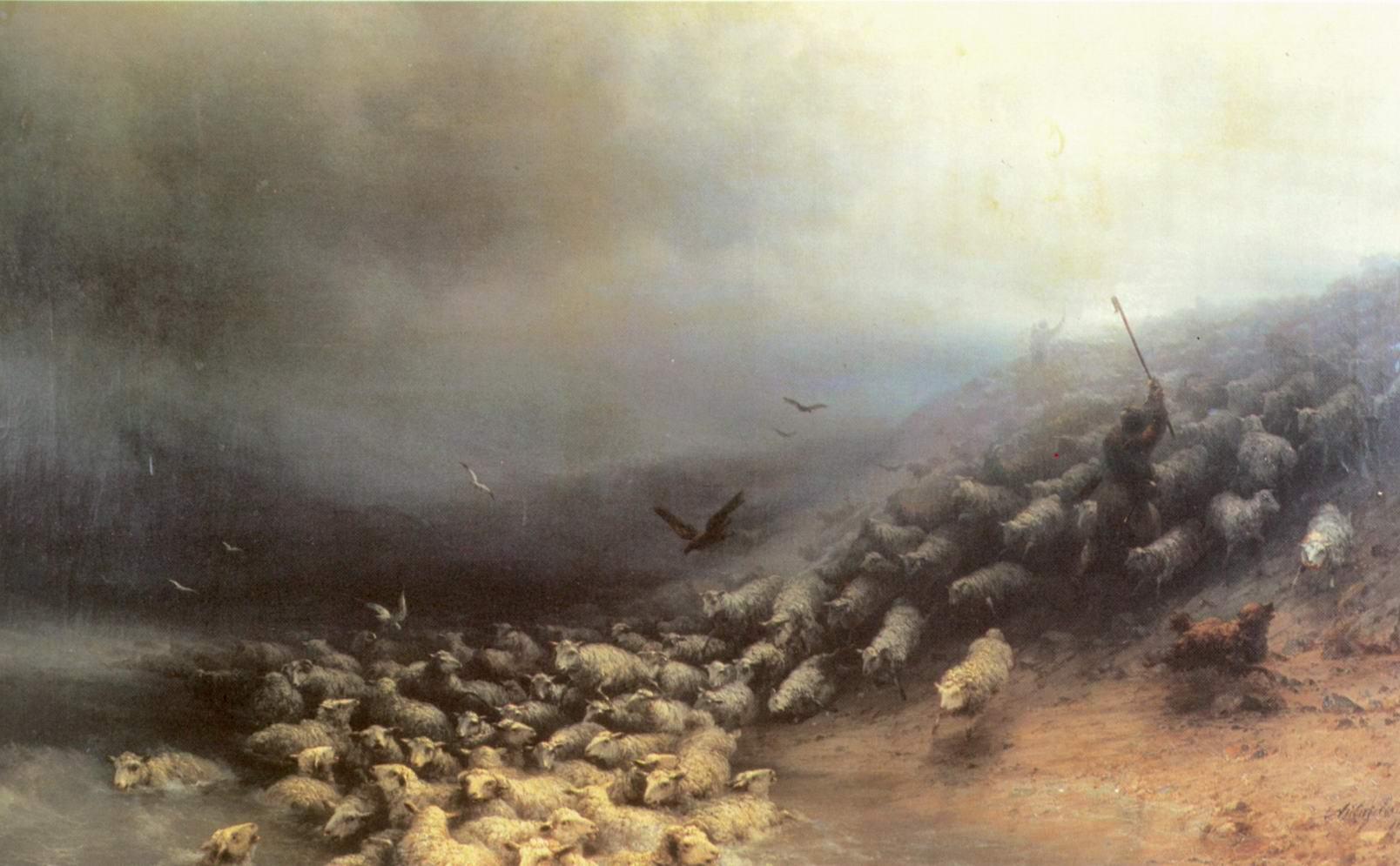 Отара овец в бурю, Айвазовский Иван Константинович