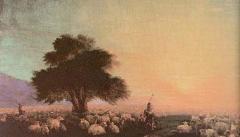 Пастухи со стадом при закате солнца