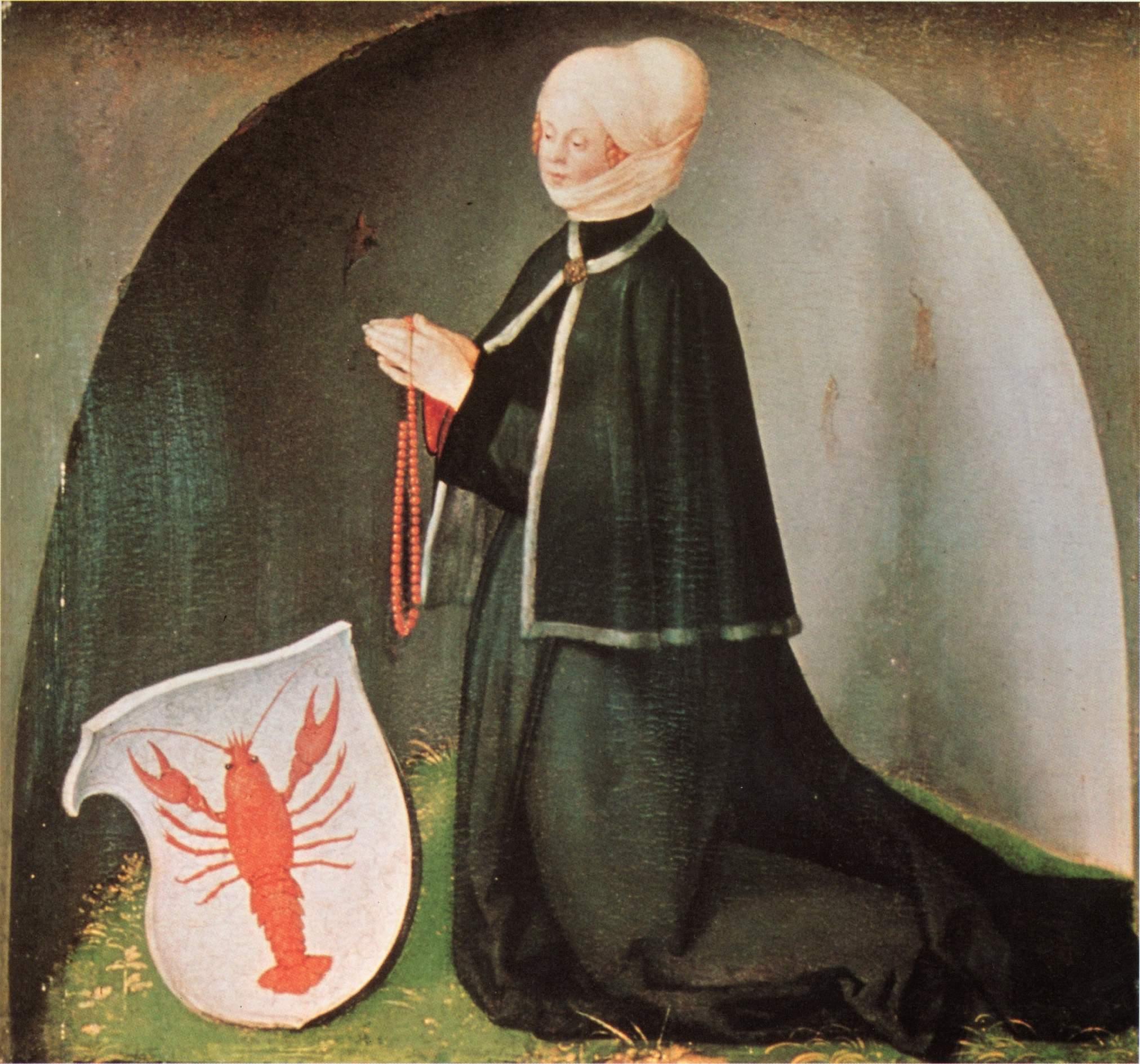 Алтарь Геллера, нижняя часть правой створки  Заказчица Екатерина Геллер, урожденная фон Мелем, с гер, Альбрехт Дюрер