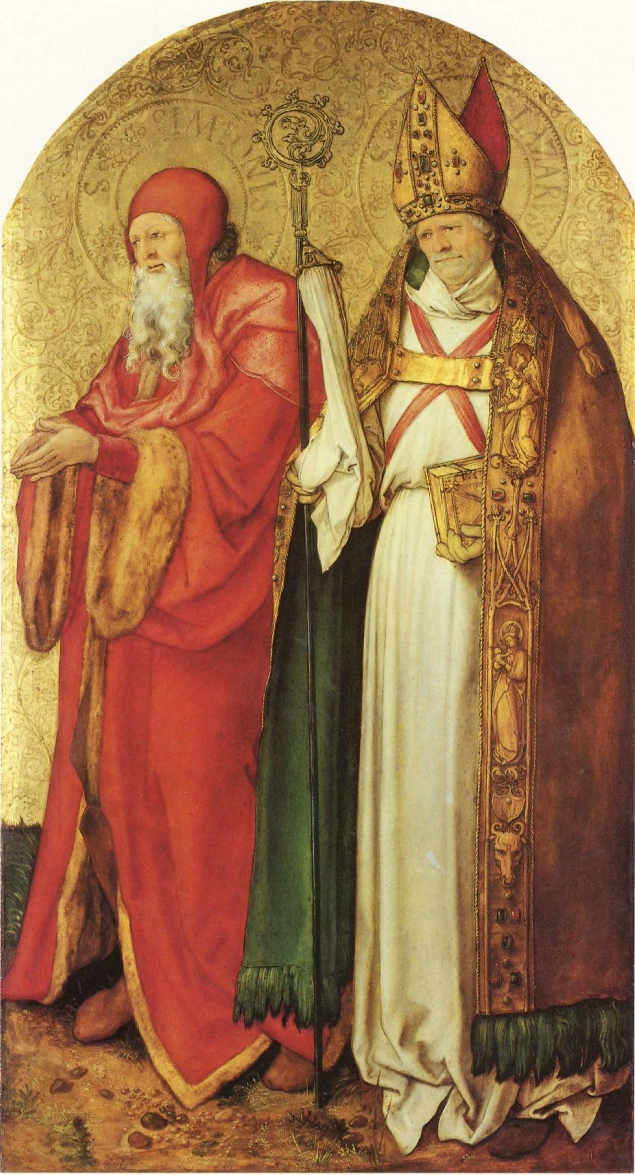 Алтарь Ябаха, внутренняя сторона правой створки. Святые Симеон и Лазарь, Альбрехт Дюрер