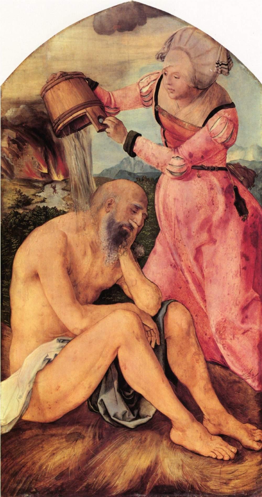 Алтарь Ябаха, наружняя сторона левой створки. Иов, терпящий унижение от жены, Альбрехт Дюрер