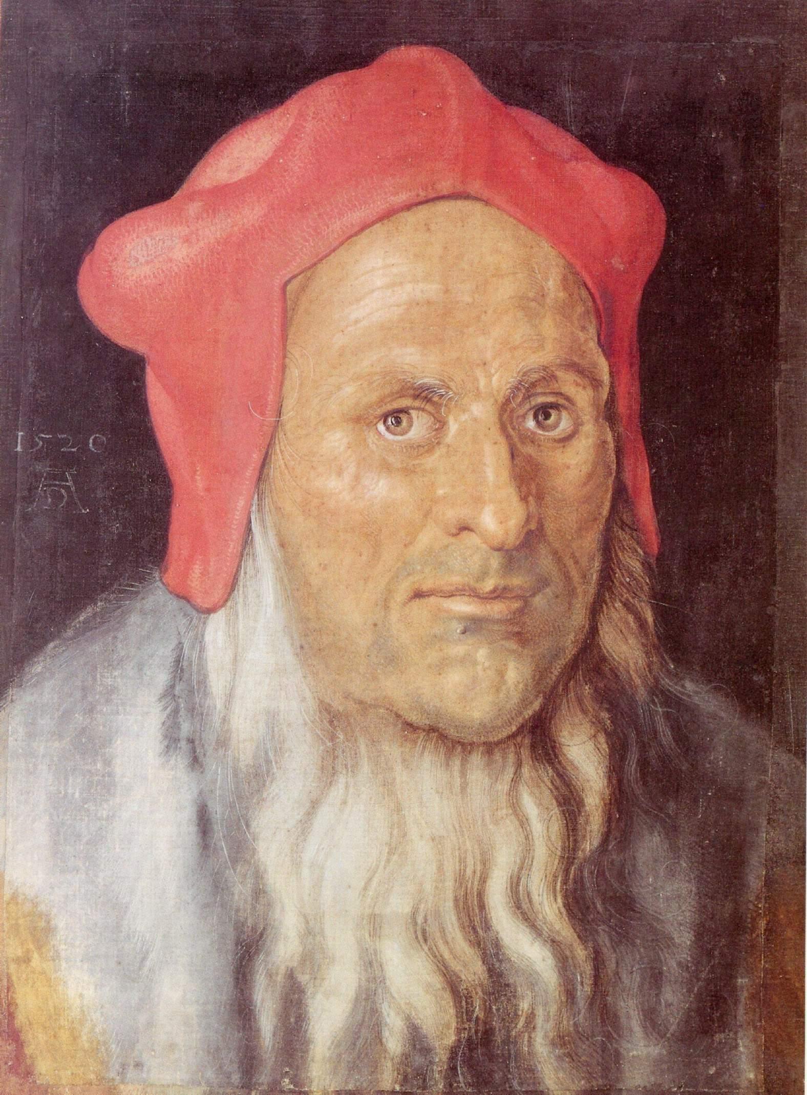 Портрет бородатого мужчины в красной шапке, Альбрехт Дюрер