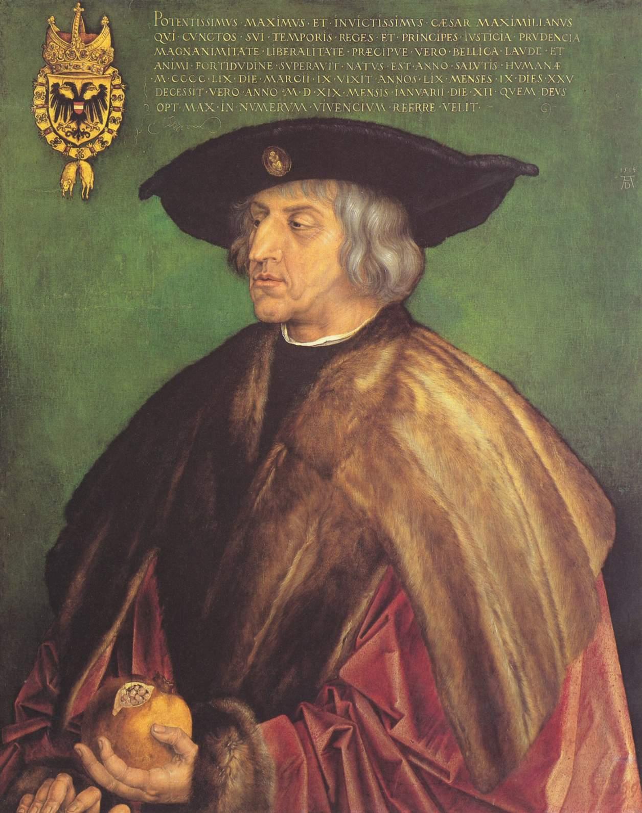 Портрет императора Максимиллиана I на зеленом фоне, Альбрехт Дюрер