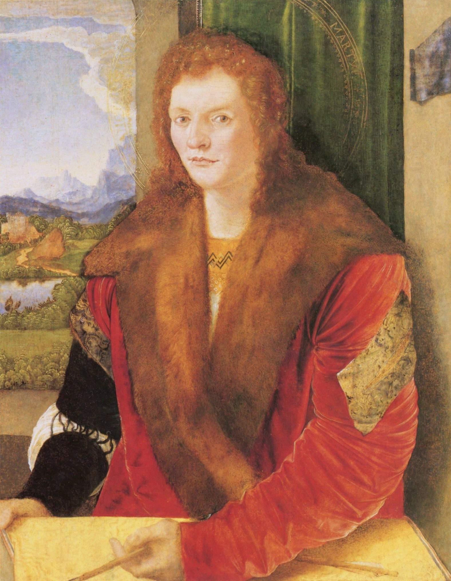 Портрет неизвестного в красной мантии (св. Себастьян), Альбрехт Дюрер