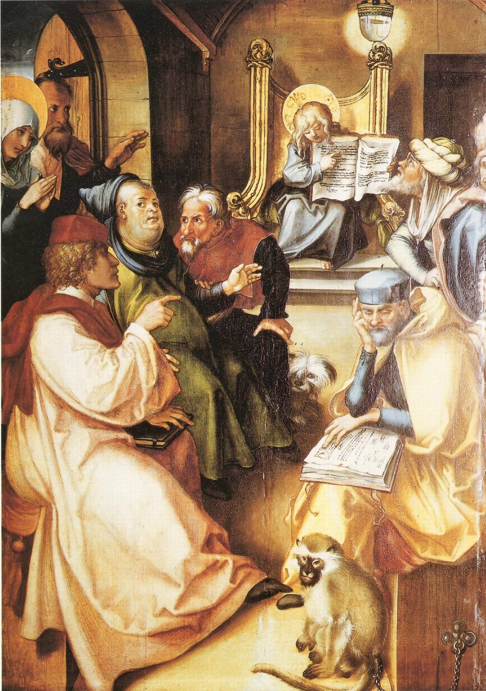 Семь скорбей Марии, центральная часть, Двенадцатилетный Иисус в храме, Альбрехт Дюрер