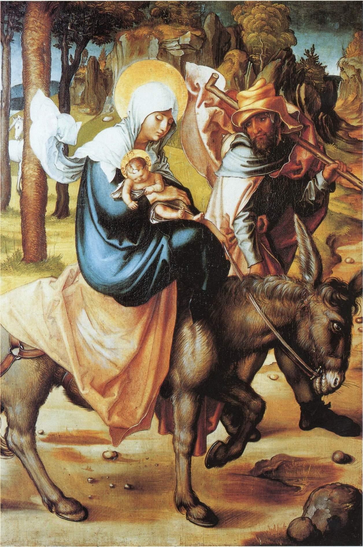 Семь скорбей Марии, центральная часть, Бегство в Египет, Альбрехт Дюрер