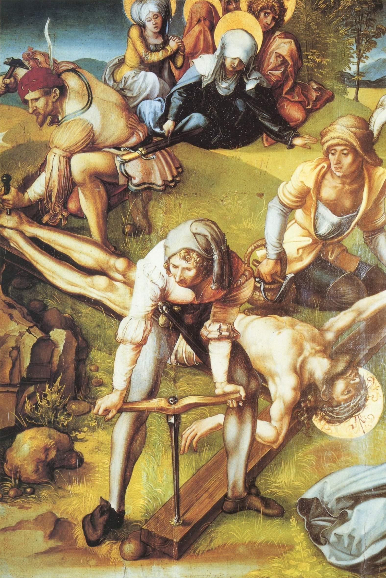 Семь скорбей Марии, центральная часть, Прибивание Христа к кресту, Альбрехт Дюрер