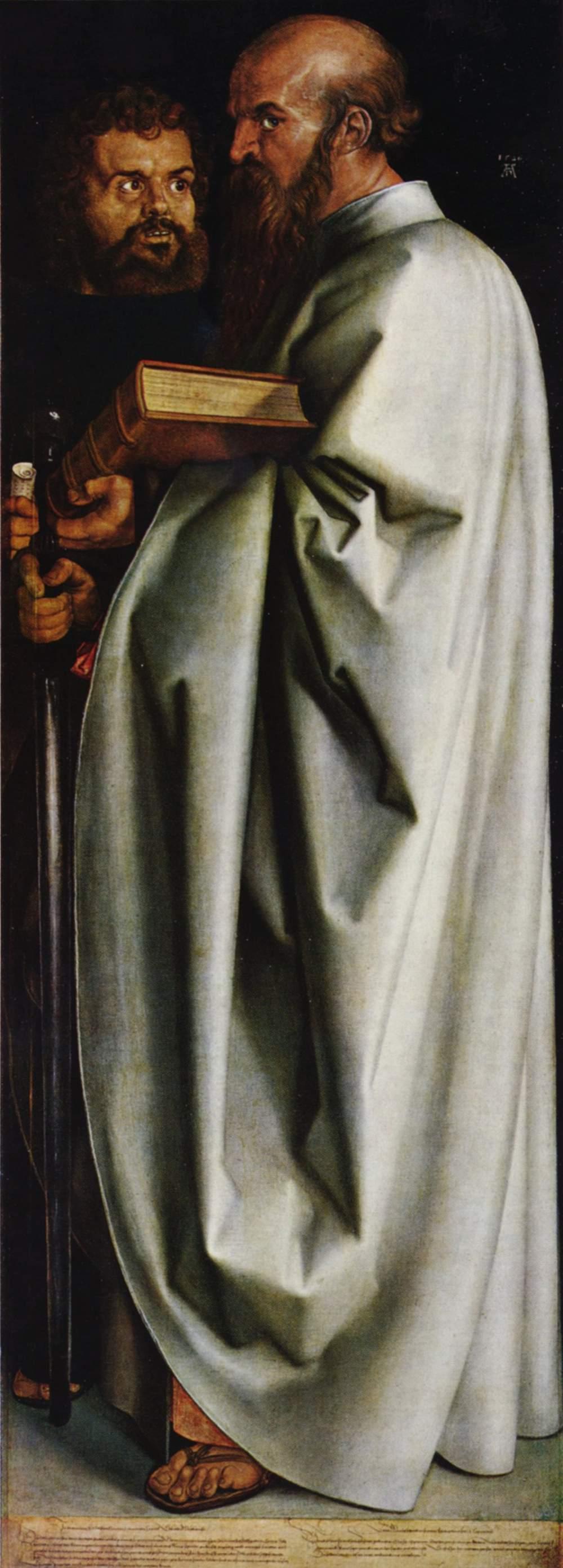 Четыре апостола, правая часть, Святые Марк и Павел, Альбрехт Дюрер