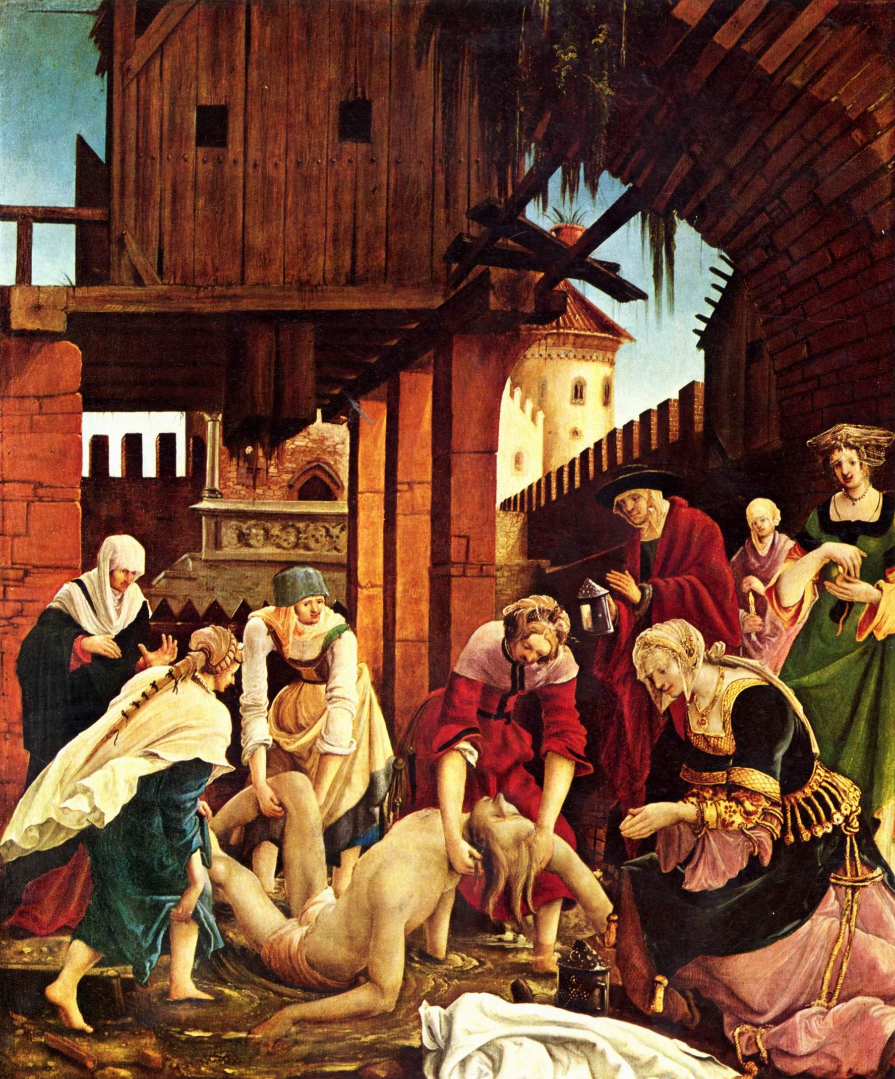 Алтарь св. Себастьяна монастыря св. Флориана, правая внешняя створка, сцена погребения тела св. Себастьяна, Альтдорфер Альбрехт