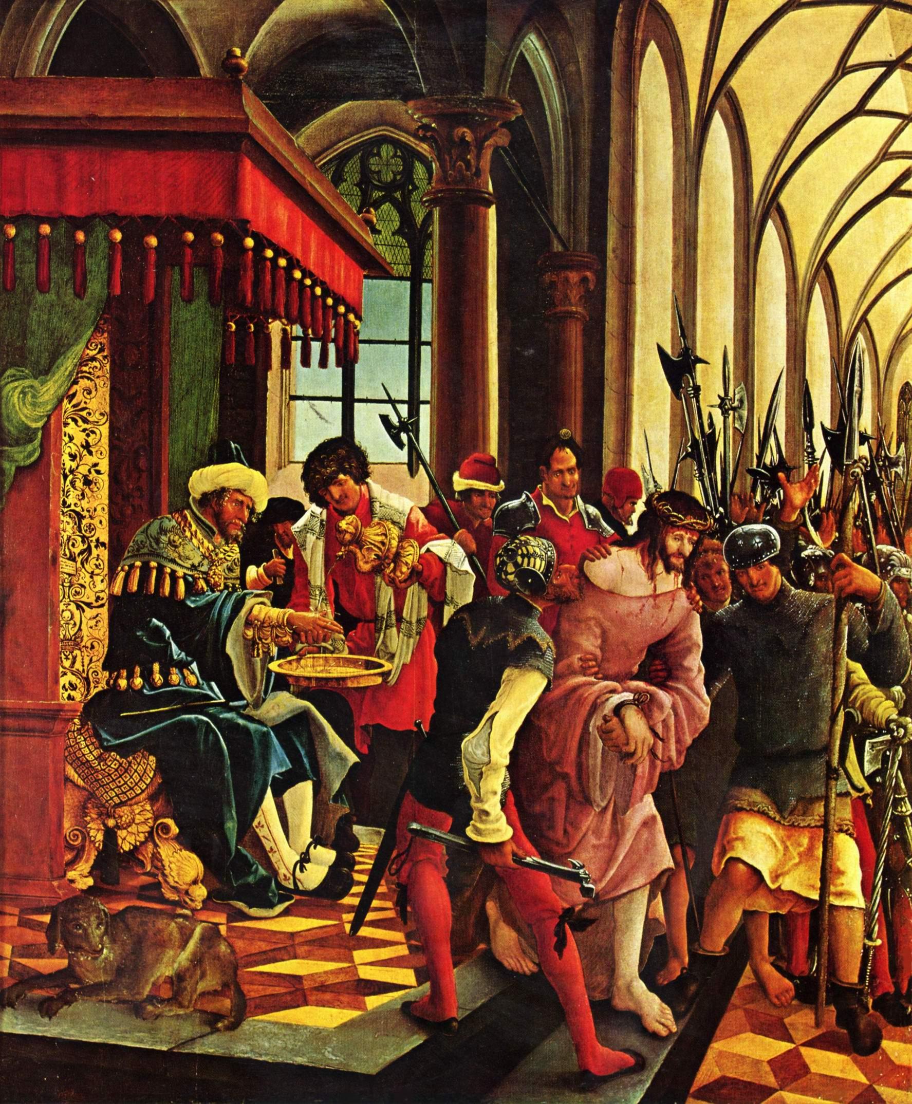 Алтарь св. Себастьяна монастыря св. Флориана ордена августинцев-каноников, левая внутренняя створка, страдания Господни, Пилат умывает руки, Альтдорфер Альбрехт