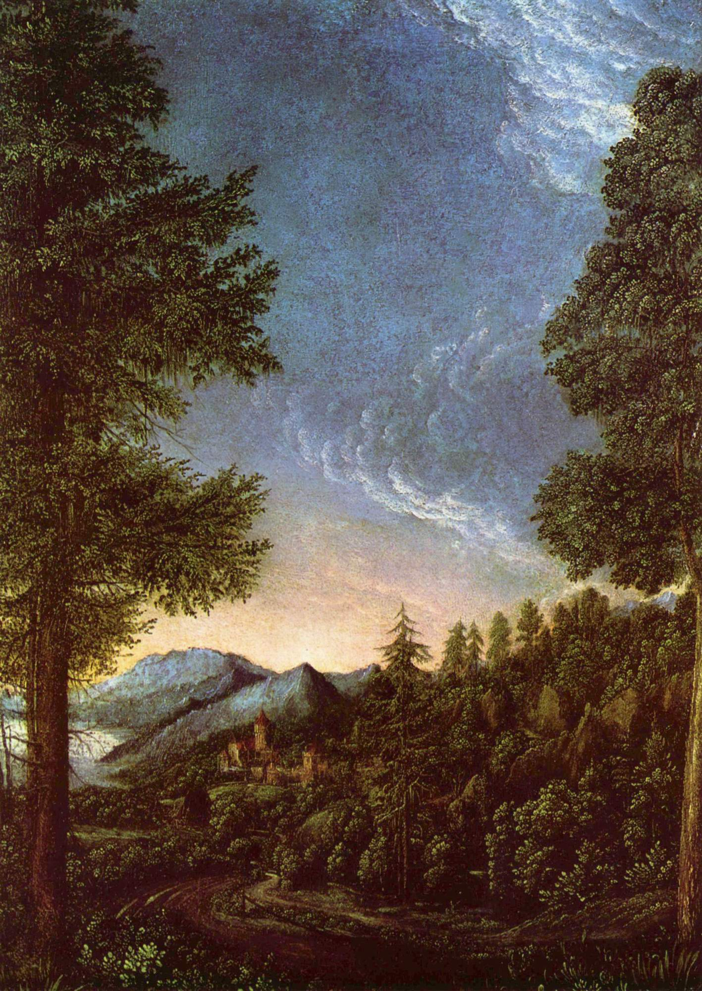 Дунайский пейзаж близ Регенсбурга с горой Шойхенберг (Пугалом), Альтдорфер Альбрехт