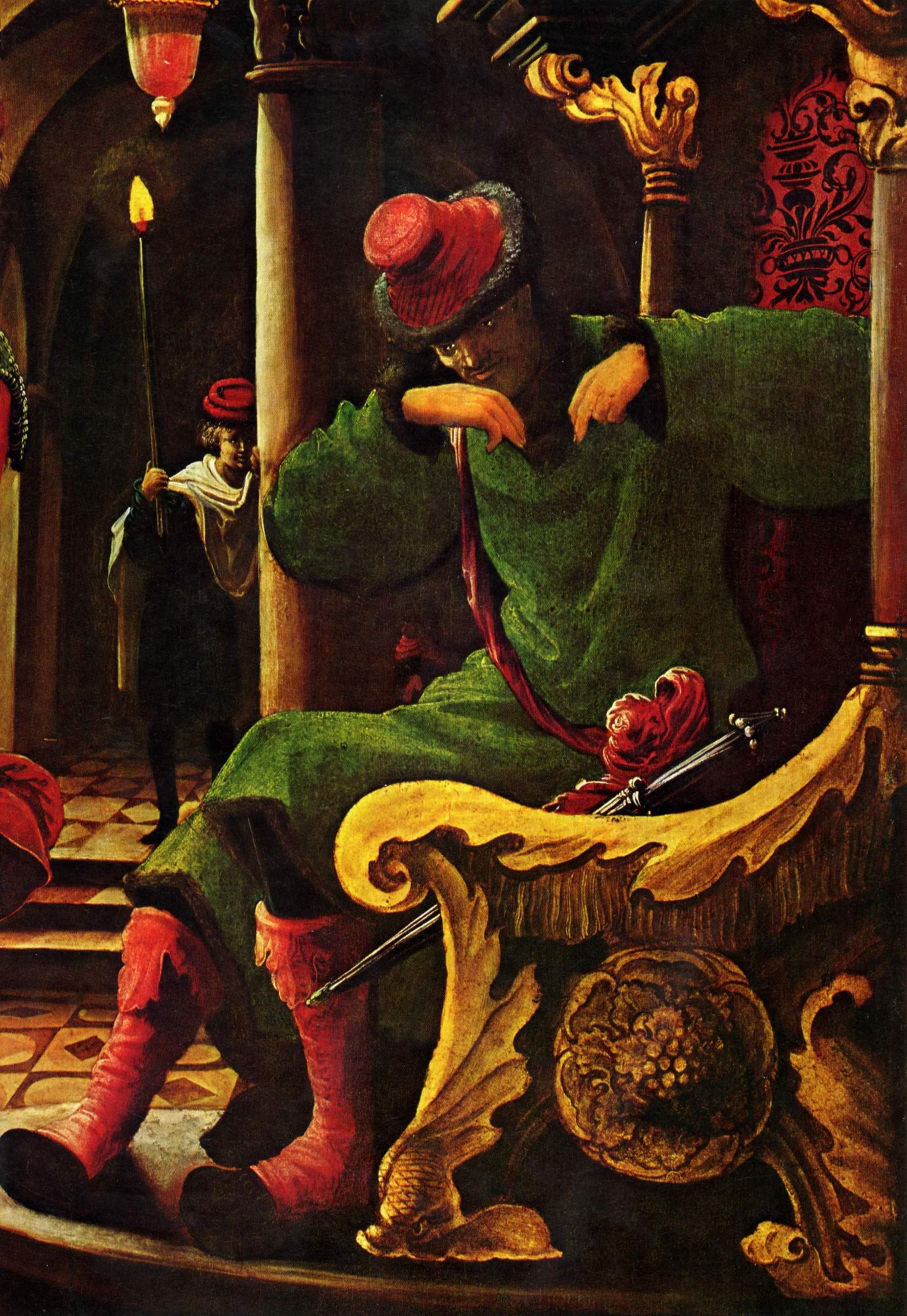 Алтарь св. Себастьяна монастыря св. Флориана ордена августинцев-каноников, левая внутренняя створка, Страсти Господни, Христос перед Каиафой., Альтдорфер Альбрехт