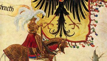 Триумфальное шествие императора Максимилиана, имперский флаг и меч.