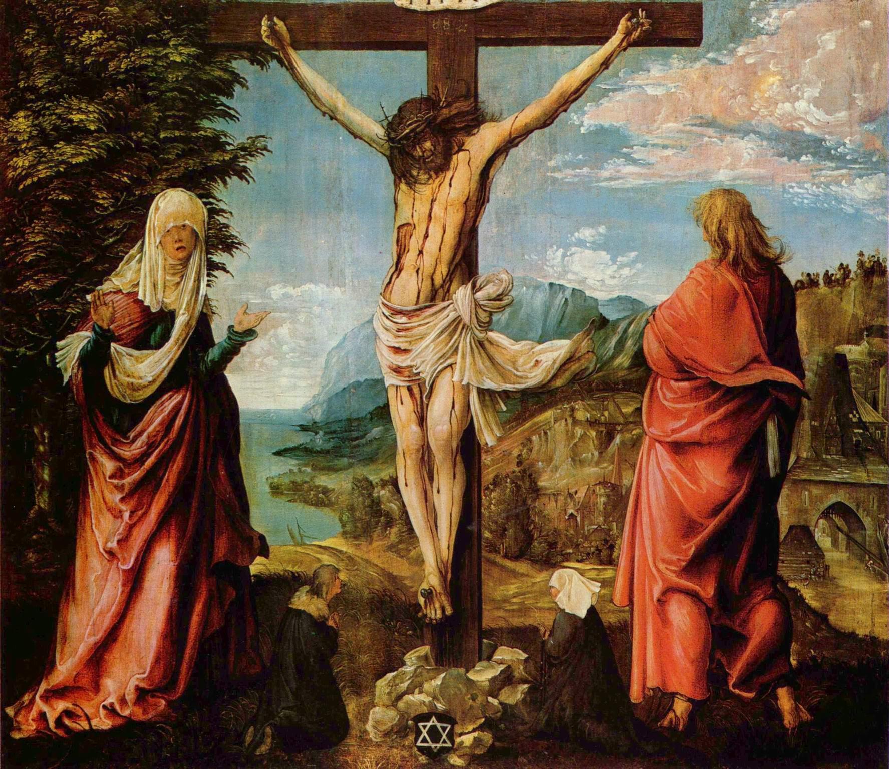 Распятие  Христос на кресте, Мария и Иоанн, Альтдорфер Альбрехт