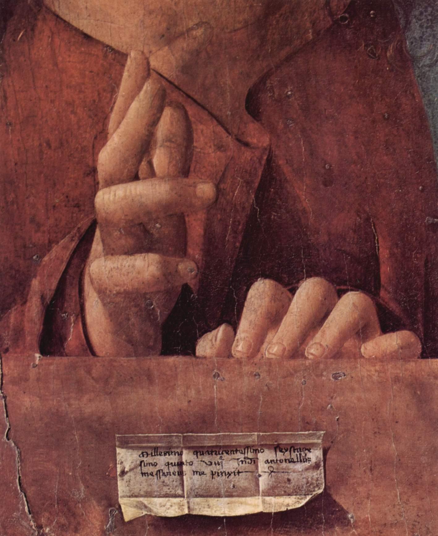 Salvator mundi (Спаситель мира). Деталь, Антонелло да Мессина