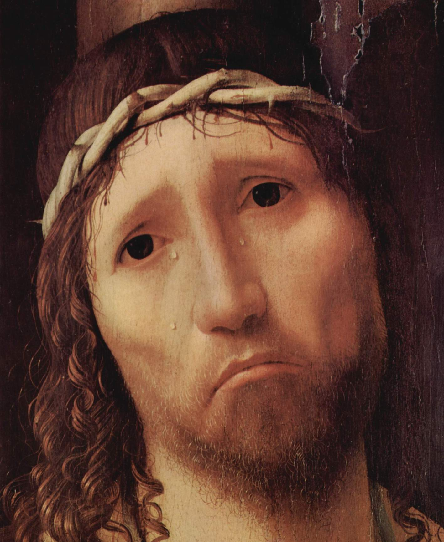 Ecce Homo. Деталь  лицо Христа, Антонелло да Мессина