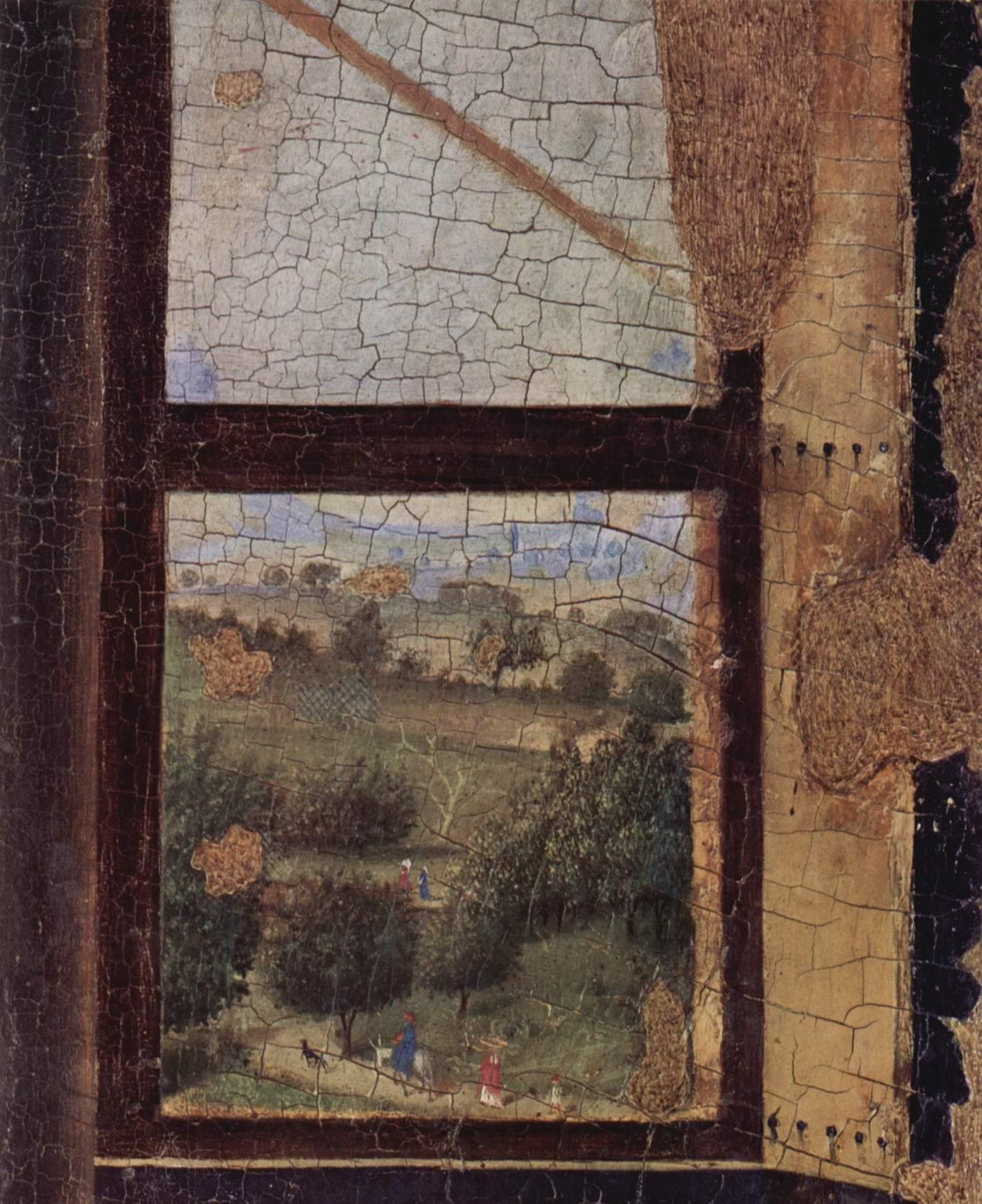 Благовещение, фрагмент. Деталь  пейзаж, Антонелло да Мессина