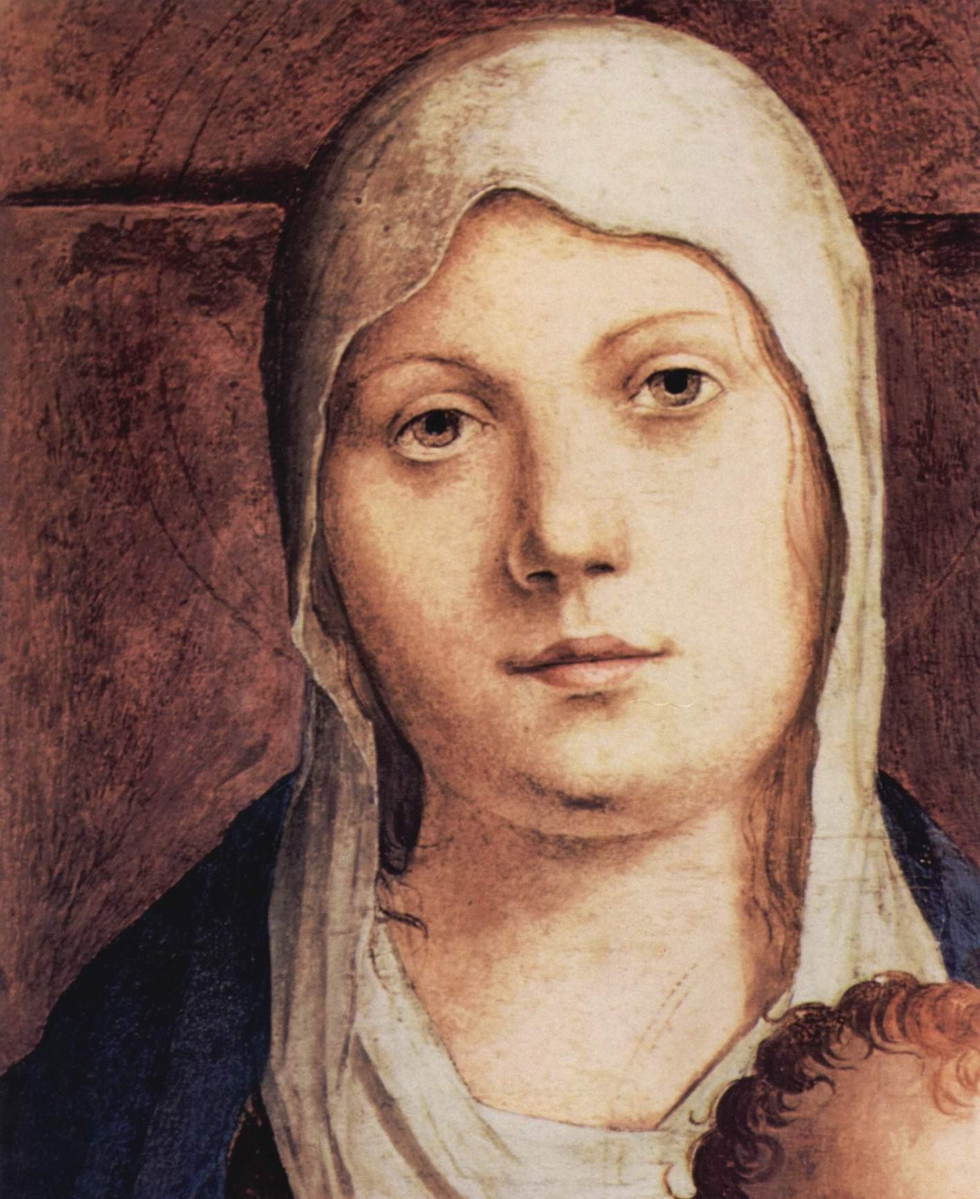Мадонна на троне, фрагмент, Pala di San Cassiano, Венеция. Деталь  голова Мадонны, Антонелло да Мессина