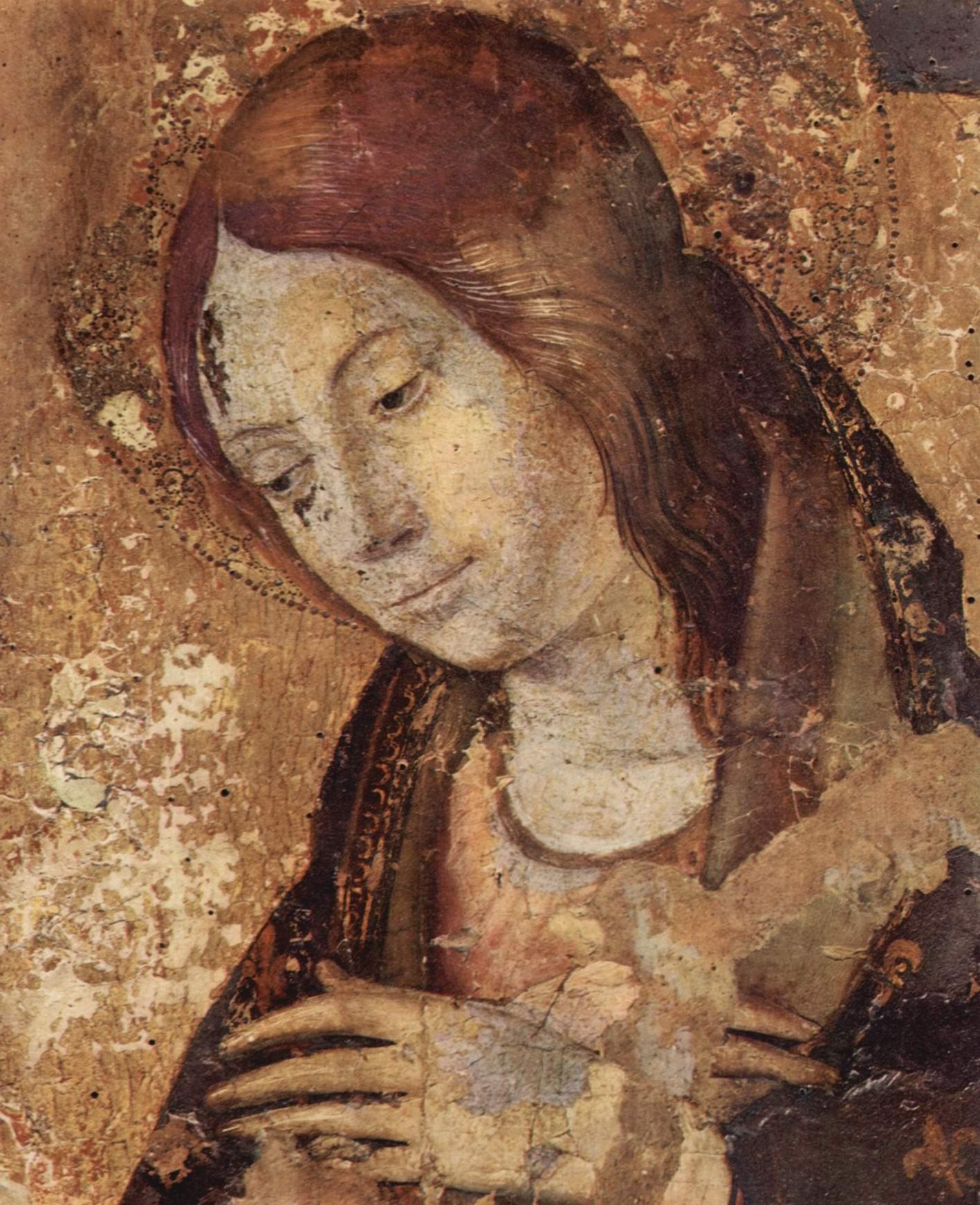 Полиптих св. Григория, фрагмент правой верхней доски, Благовещение Марии. Деталь  голова Марии, Антонелло да Мессина