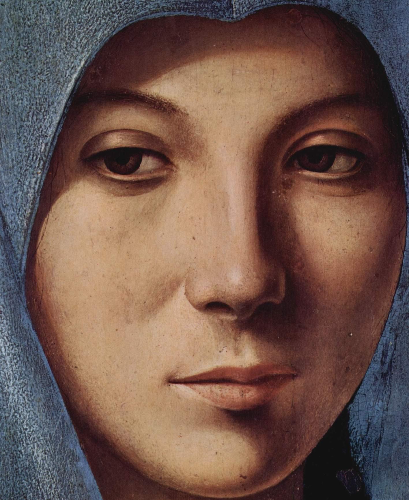 Благовещение Марии. Деталь_ лицо Марии, Антонелло да Мессина