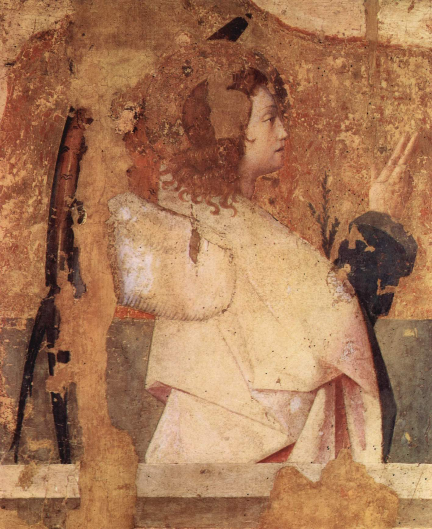 Полиптих св. Григория, фрагмент левой верхней доски, архангел Гавриил, Антонелло да Мессина