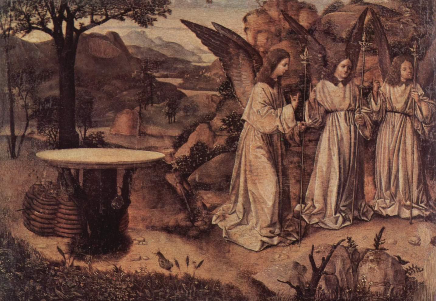 Посещение Авраама тремя ангелами, фрагмент, Антонелло да Мессина
