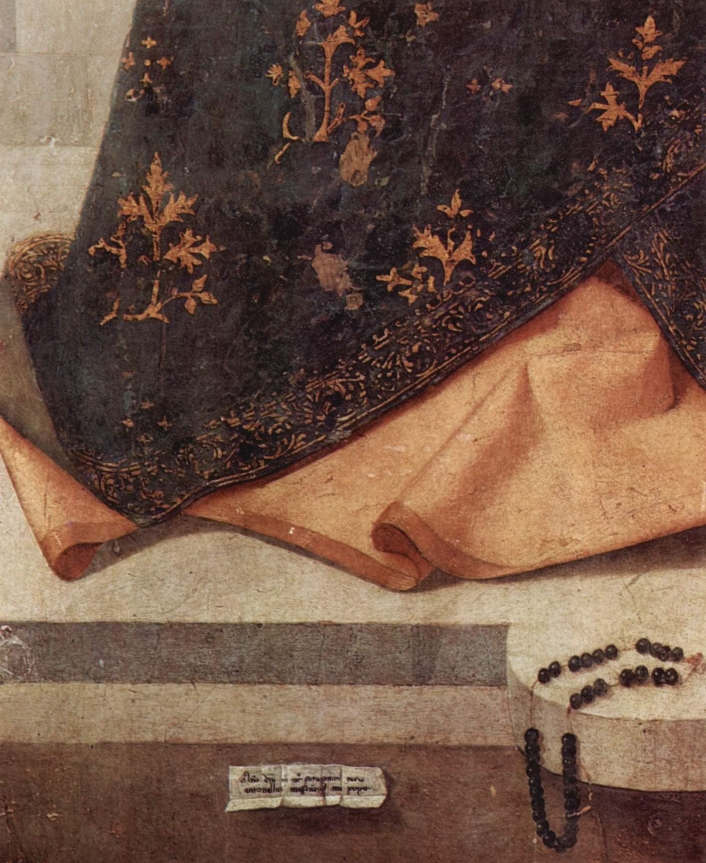 Полиптих св. Григория, центральная доска, Мадонна на троне. Деталь  подпись художника и датировка, выполненная его рукой, Антонелло да Мессина