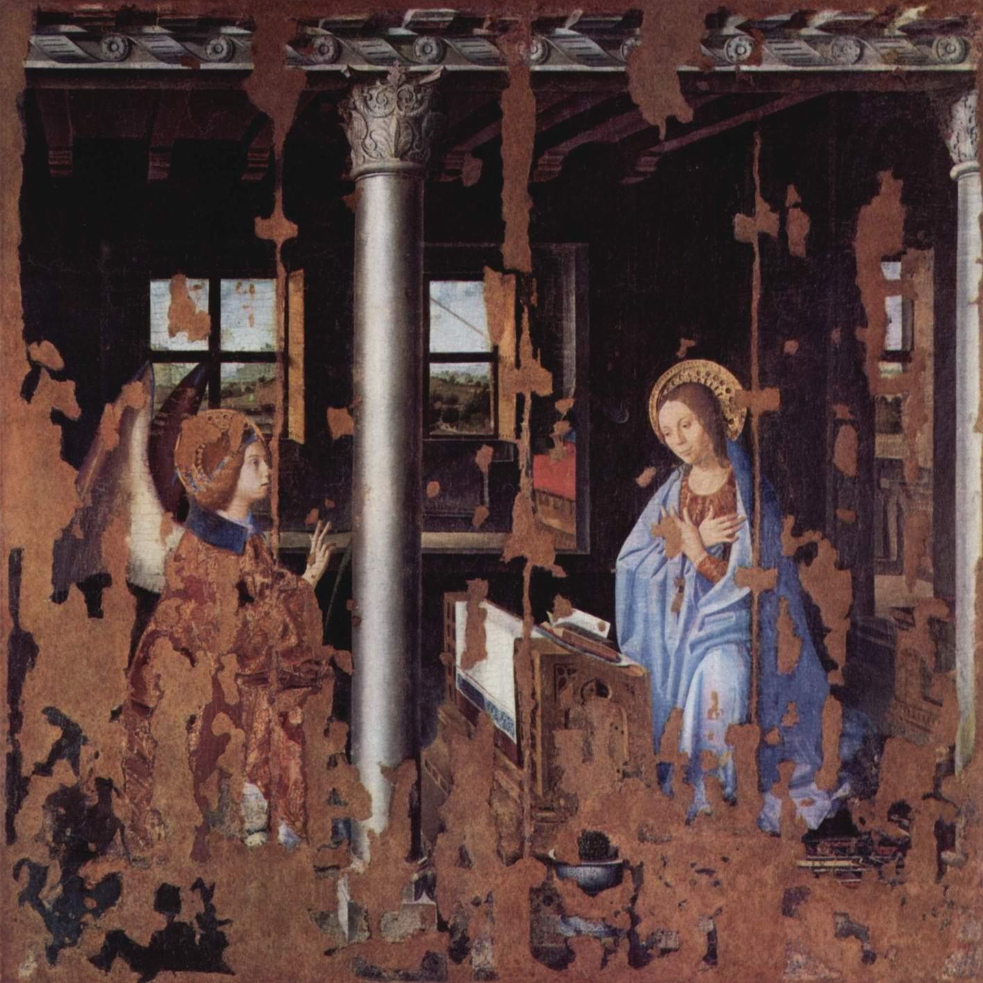 Благовещение, фрагмент, Антонелло да Мессина