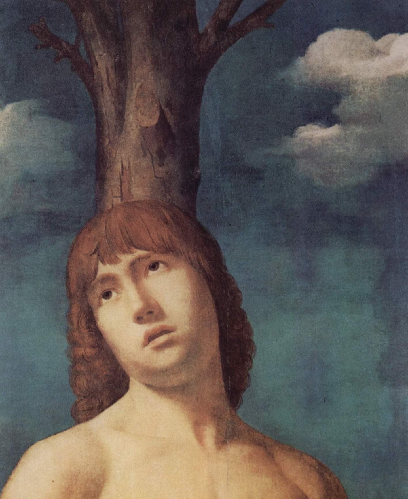 Св. Себастьян. Деталь  голова святого, Антонелло да Мессина