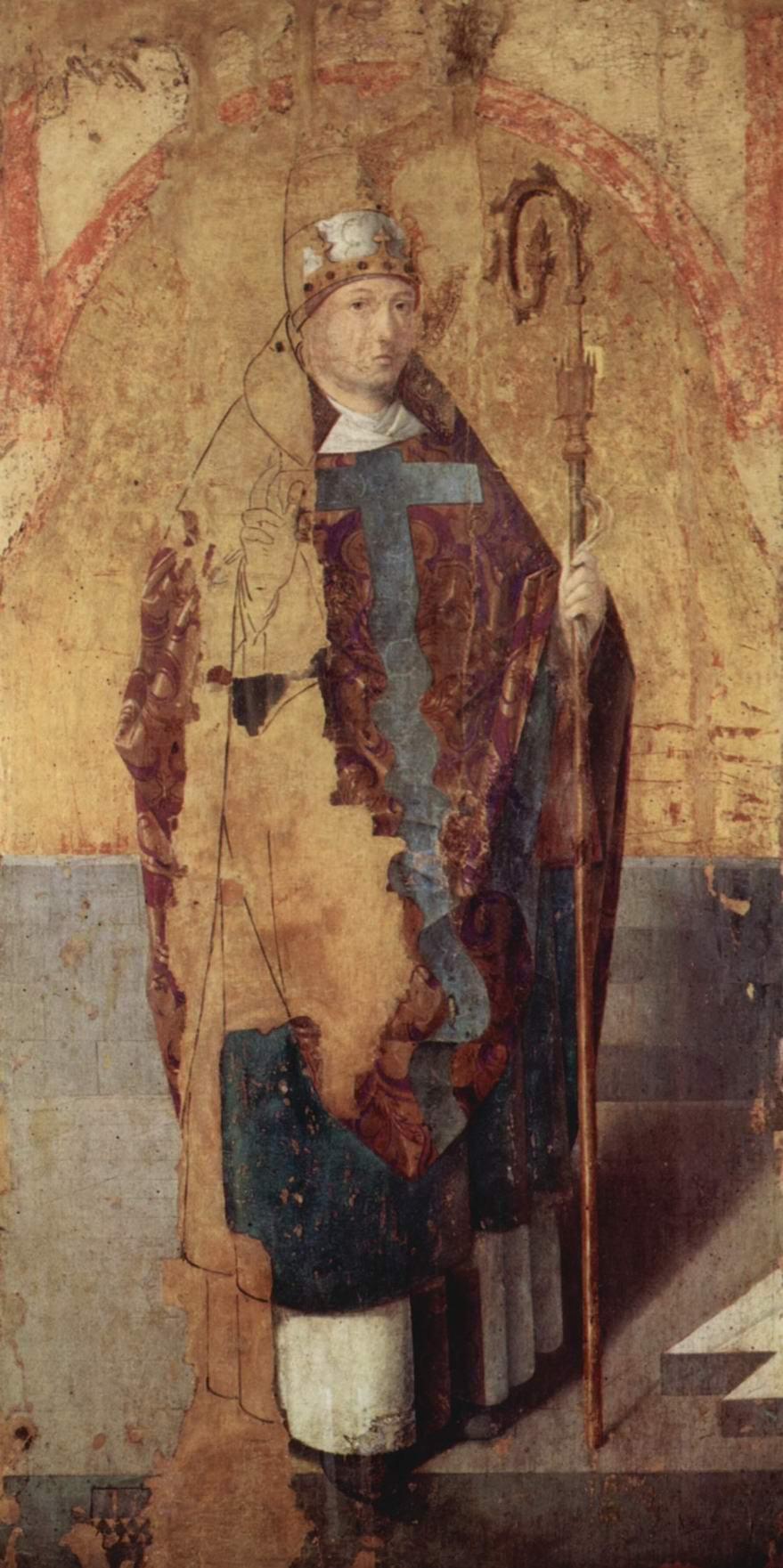 Полиптих св. Григория, левая доска, св. Григорий, Антонелло да Мессина