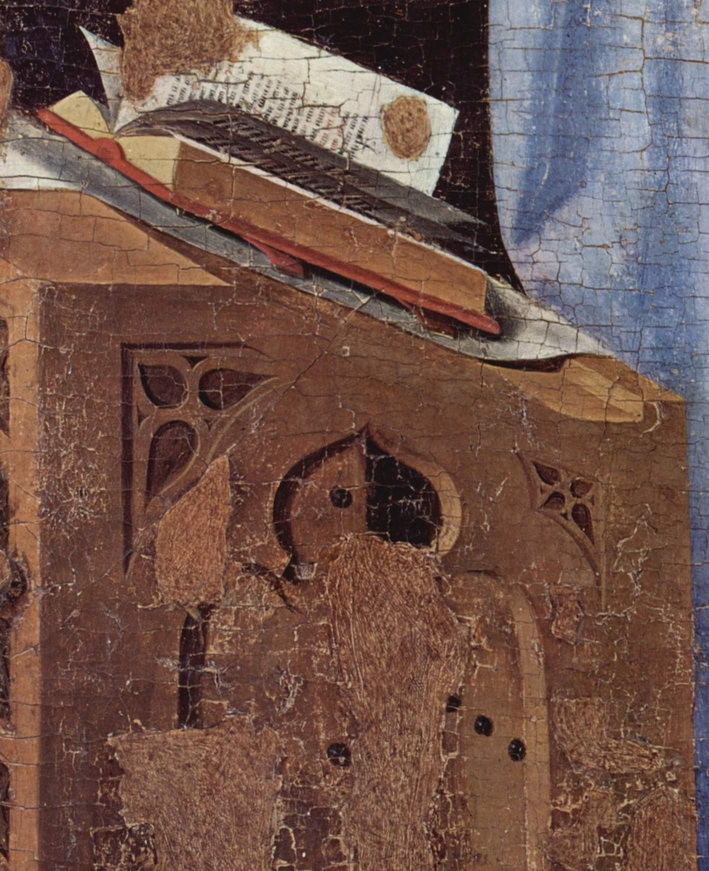 Благовещение, фрагмент. Деталь  кафедра Марии, Антонелло да Мессина