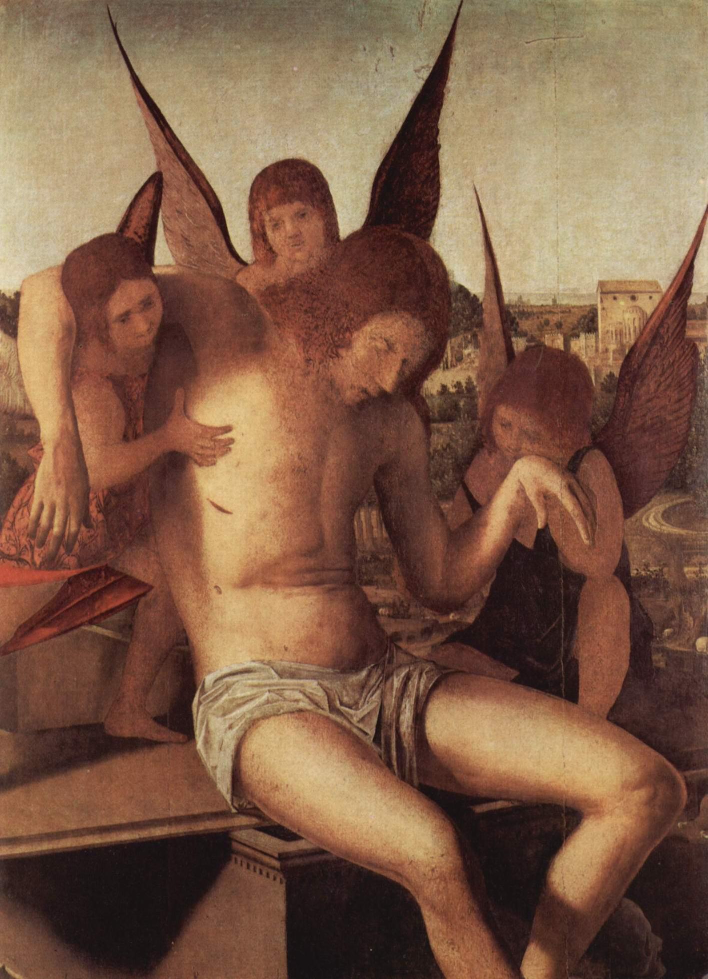 Пьета с тремя ангелами, фрагмент, Антонелло да Мессина