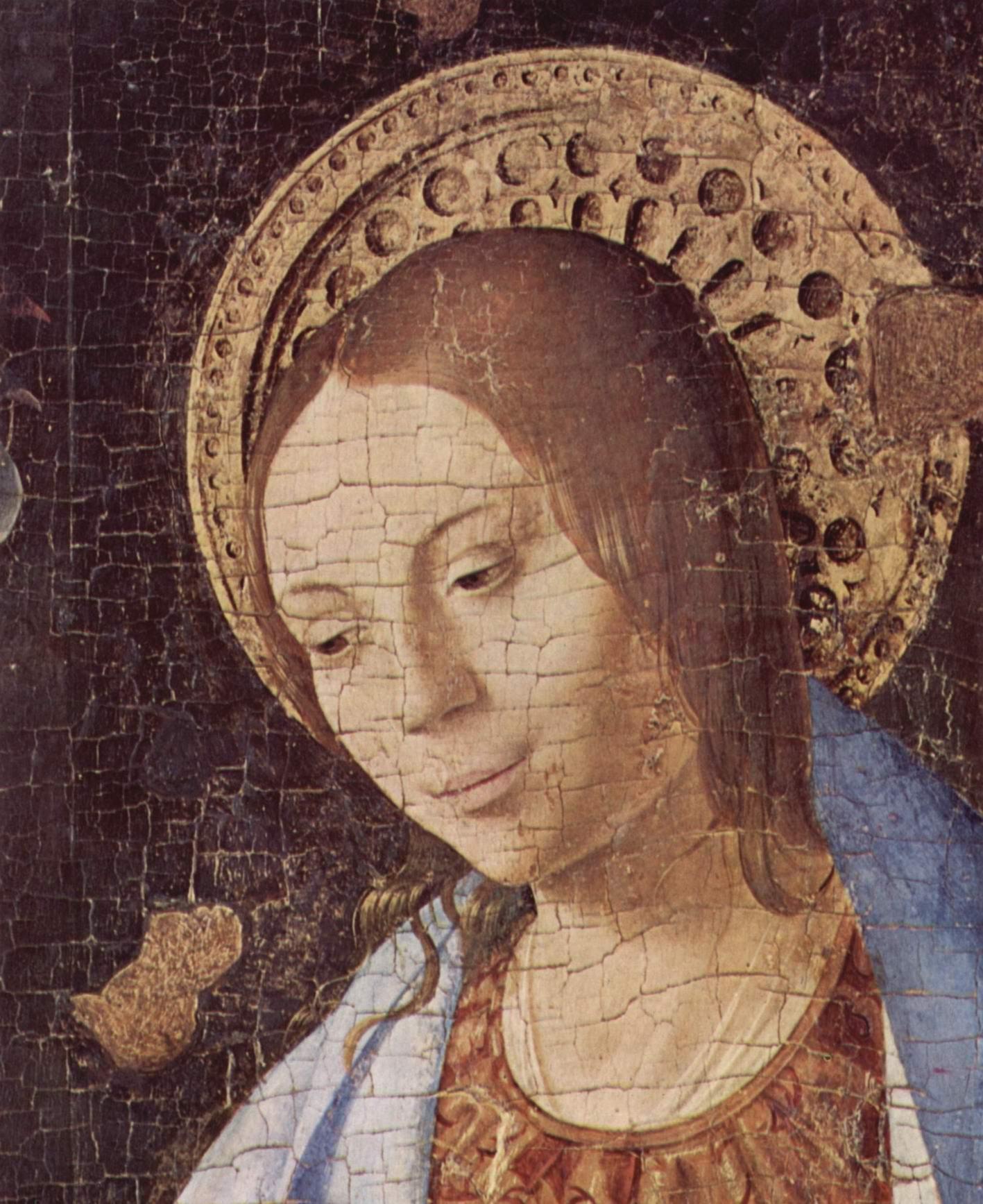 Благовещение, фрагмент. Деталь  голова Марии, Антонелло да Мессина