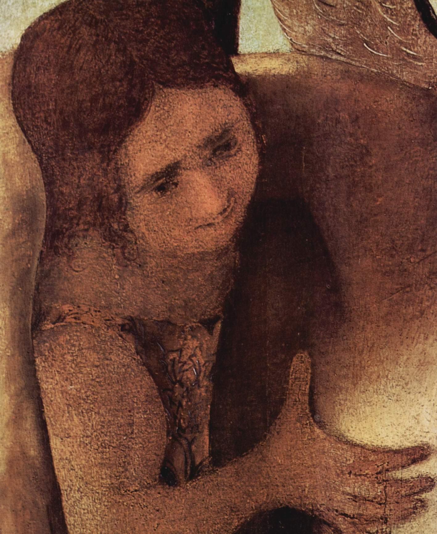 Пьета с тремя ангелами, фрагмент. Деталь  ангел, Антонелло да Мессина