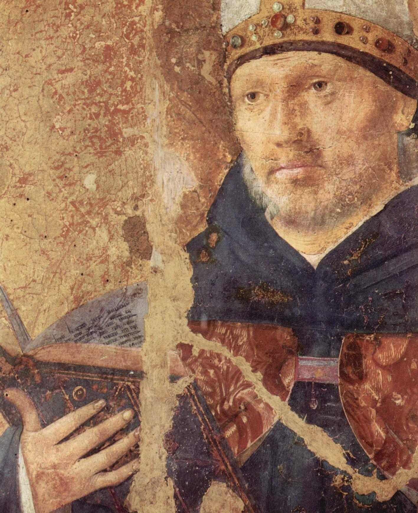Полиптих св. Григория, правая доска, св. Бенедикт. Деталь, Антонелло да Мессина