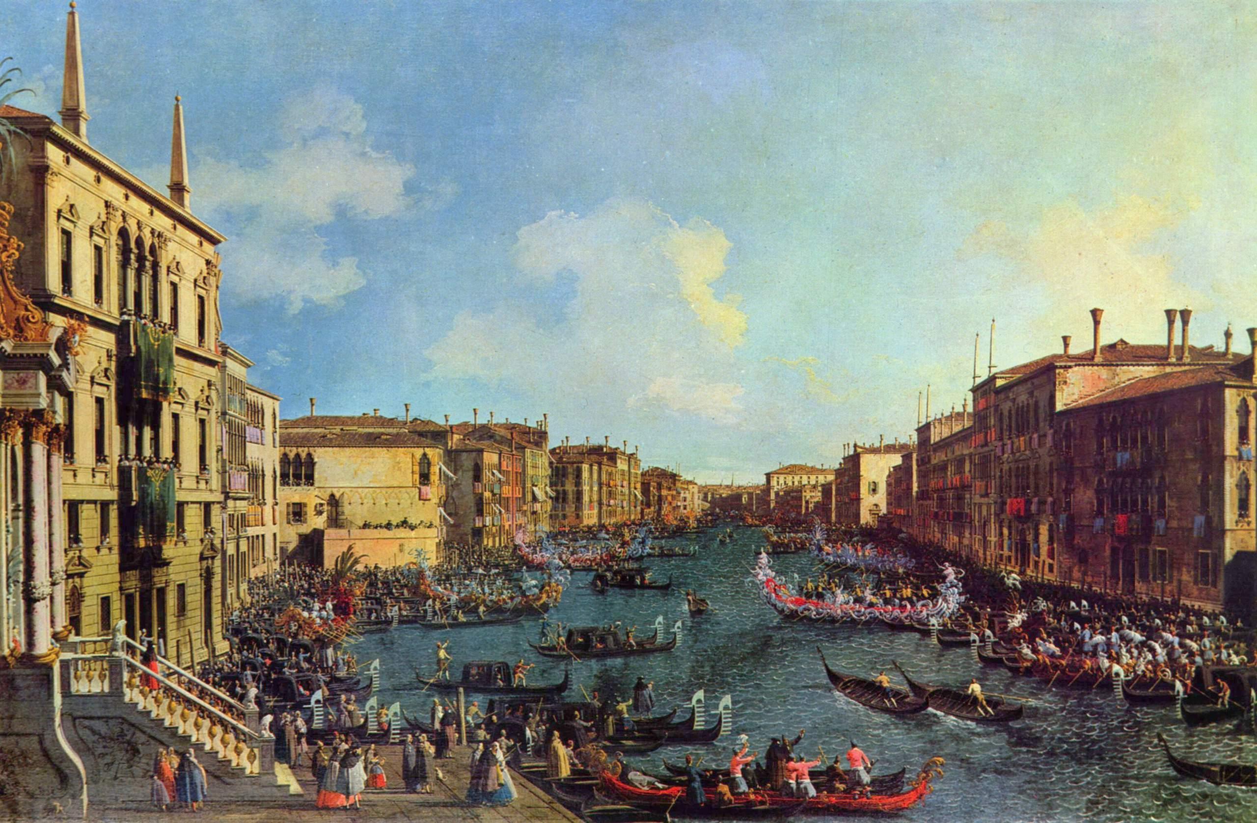 Регата, вид со стороны Палаццо Фоскари, Антонио Каналетто 2