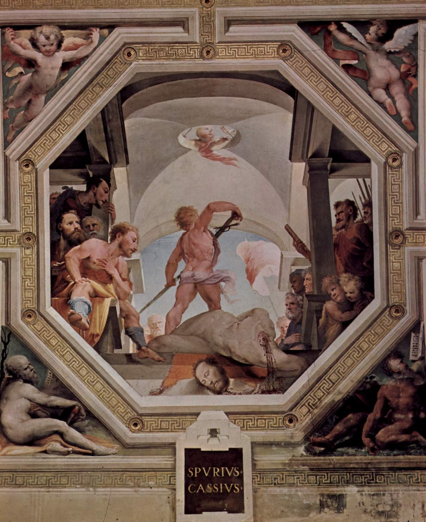 Аллегорический цикл фресок (Политические добродетели) из Палаццо Пубблико в Сиене. Обезглавливание Спурия Кассия, Беккафуми Доменико