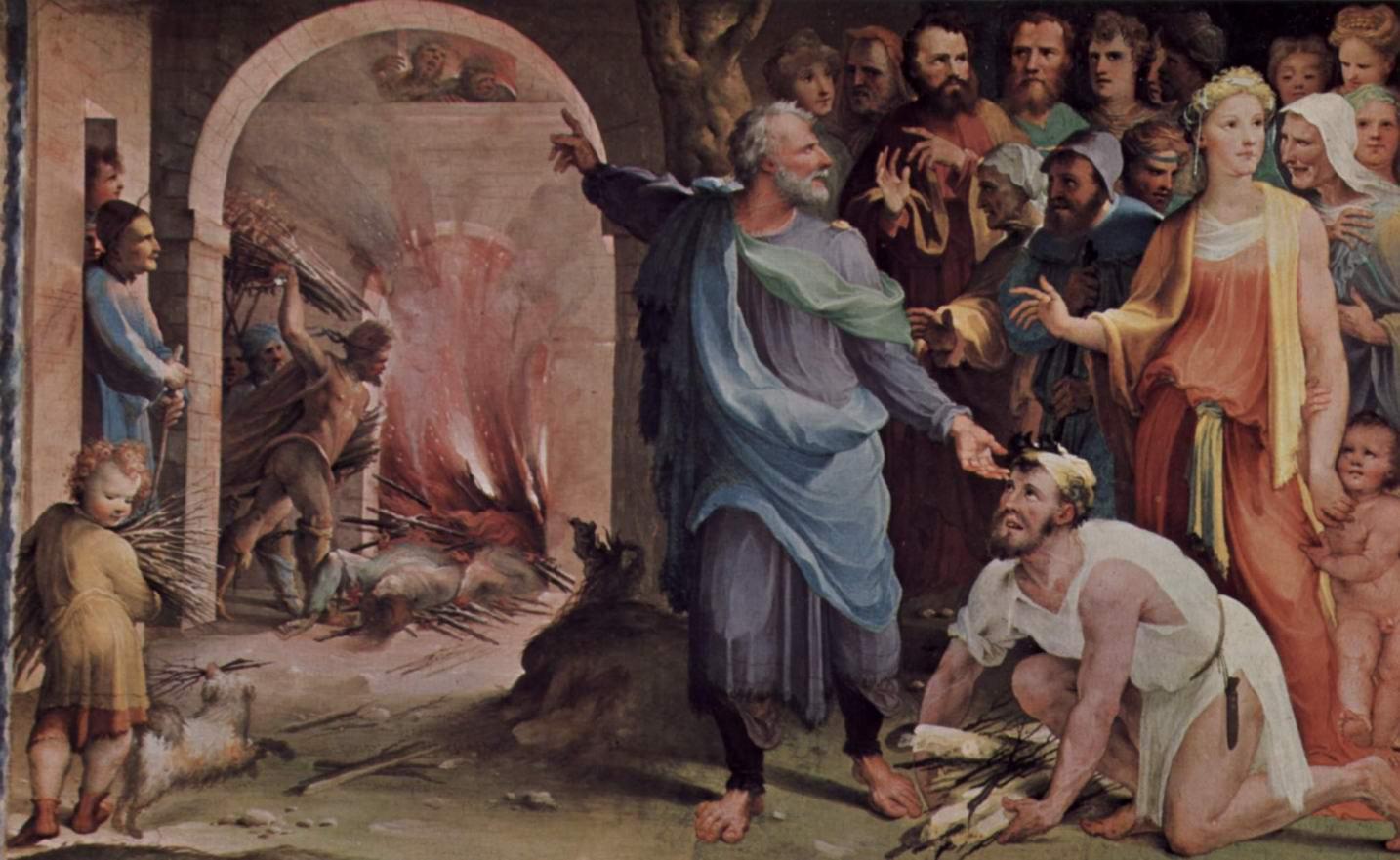 Аллегорический цикл фресок (Политические добродетели) из Палаццо Пубблико в Сиене. Трибун Публий Муций посылает своих союзников на костёр, Беккафуми Доменико