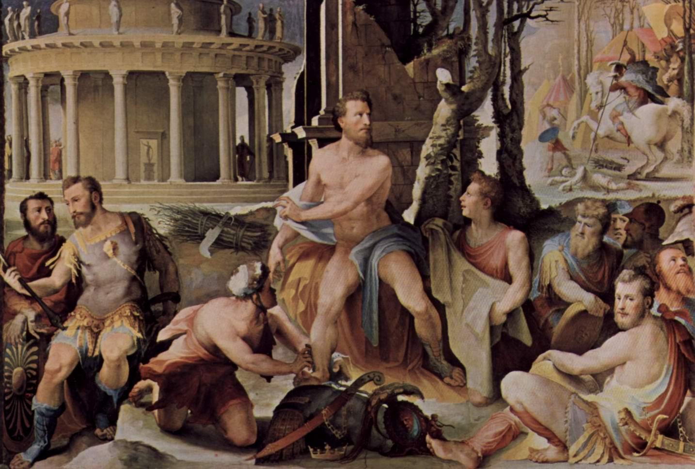Аллегорический цикл фресок (Политические добродетели) из Палаццо Пубблико в Сиене. Жертва Кодра, царя Афин, Беккафуми Доменико