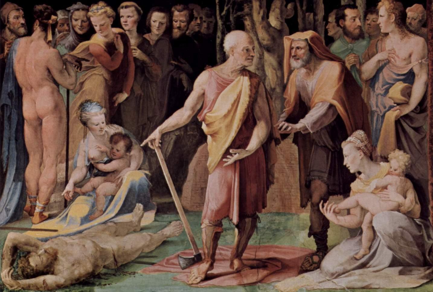 Аллегорический цикл фресок (Политические добродетели) из Палаццо Пубблико в Сиене. Постумий Тибурций убивает своего сына, Беккафуми Доменико