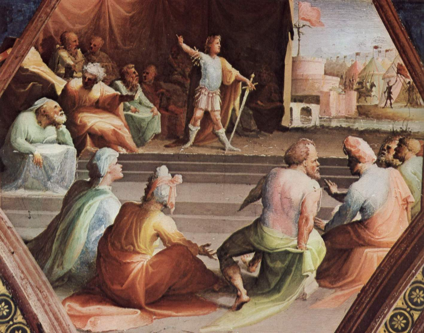 Фрески палаццо Бинди Сегарди, Сципион со своими солдатами, Беккафуми Доменико