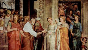 Фрески в капелле св. Бенедикта в Сиене, Обручение Марии с Иосифом